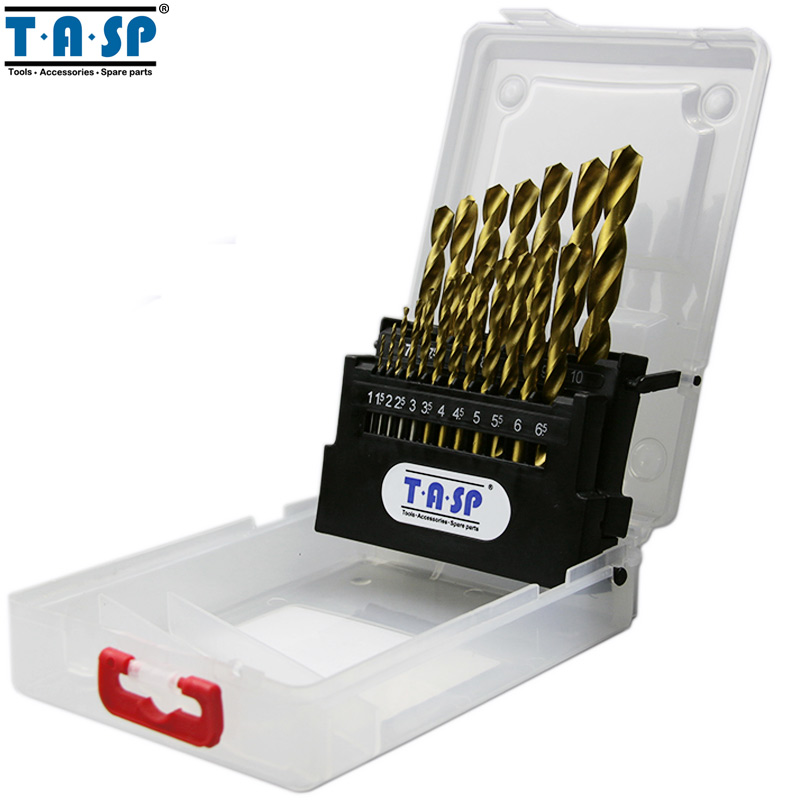 TASP 19PC Titanium Coated HSS Twist Drill Bit Set For Metal Drilling 1 0 10mm Round