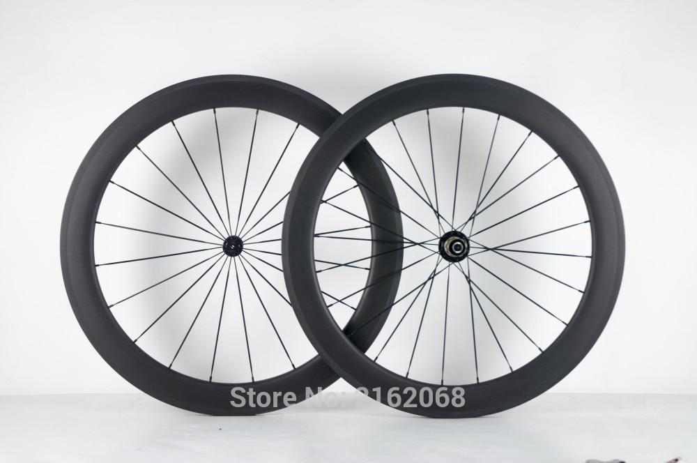 Date 700C 60mm Route vélo T800 mat 3 k pleine fiber de carbone vélo de roues carbone enclume jantes aero rayons brochettes navire Libre