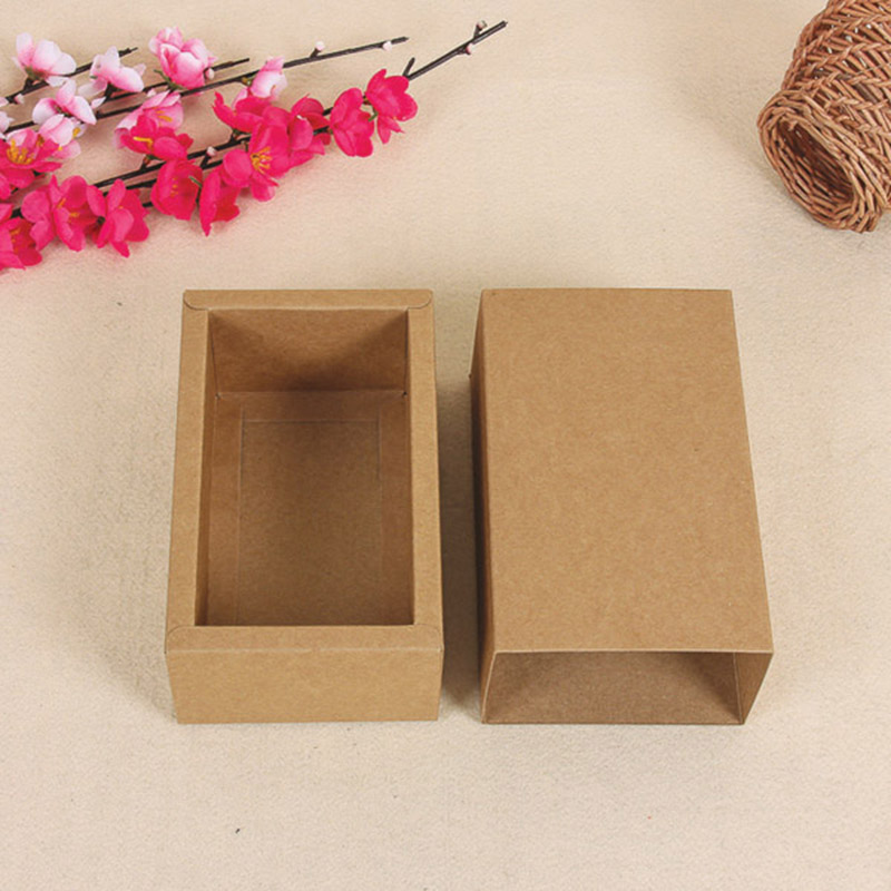 Retail 10.6*8.4+4cm 20Pcs/Lot Kraft Paper Package Box For DIY Soap Gift Craft Jewel Pack Box Retro Cardboard Paper Drawer Boxes