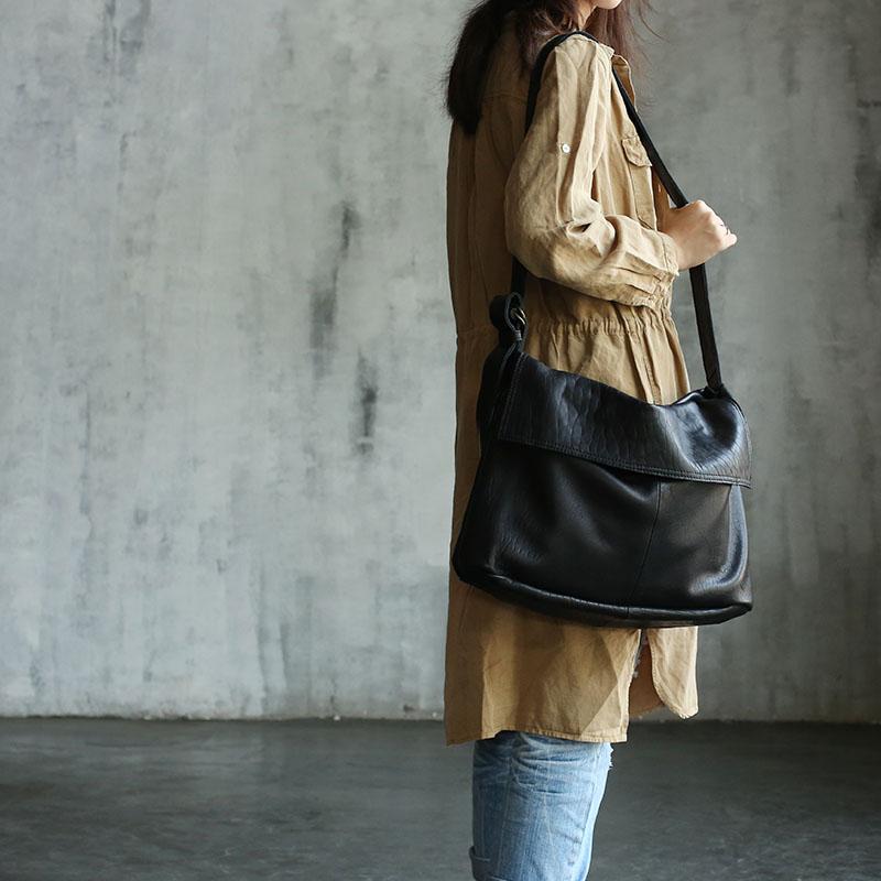 Vendange 2017 New fashion Casual medial size Vintage handmade genuine sheepskin leather bag / messenger bag / shoulder bag2127M