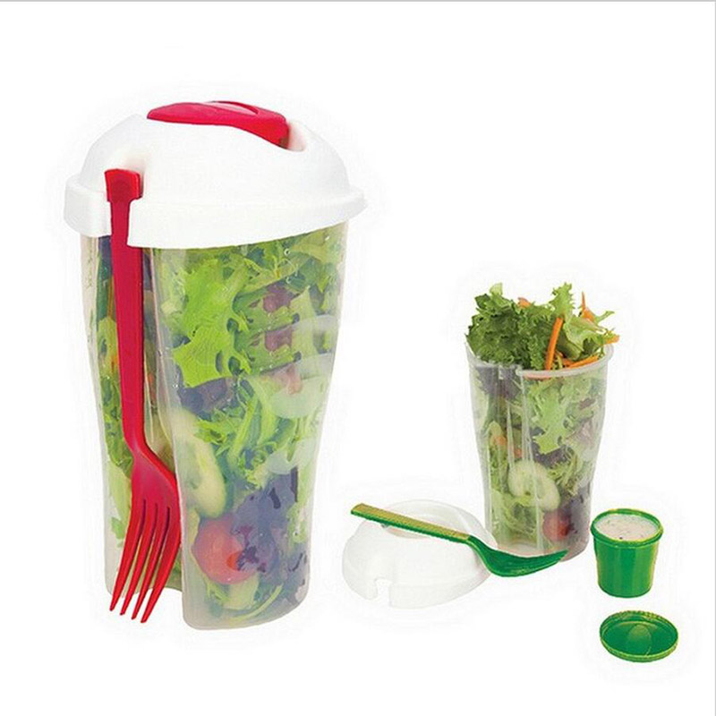 Fresh Salad On Go Container Serving Bottle Shaker With