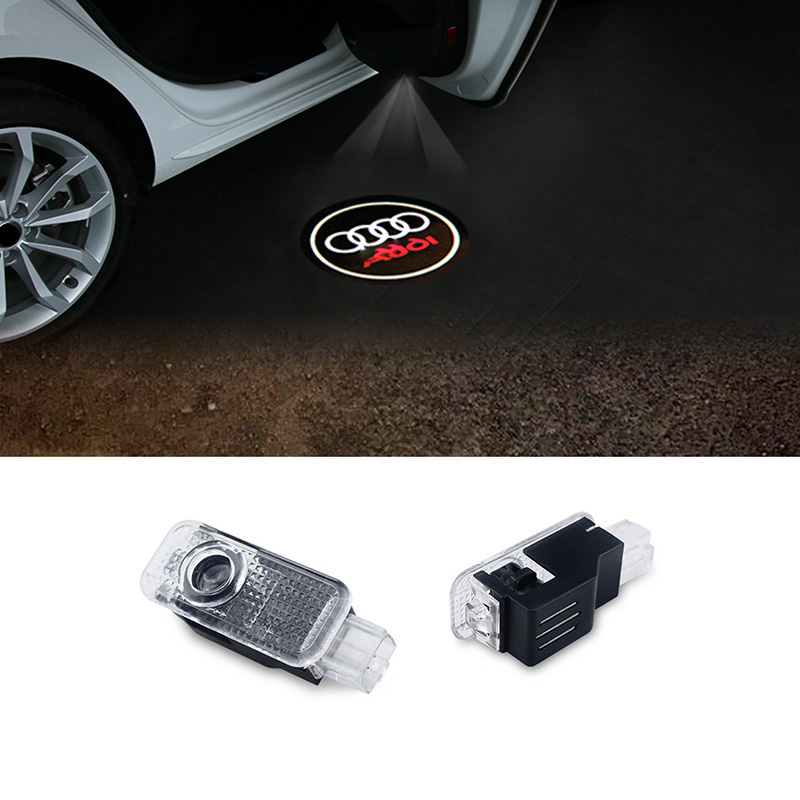 2pcs LED Car door welcome light courtesy led car laser projector Logo Ghost Shadow Light For Audi Logo power Light for all cars courtesy lights &angel wings spotlight universal fit for car door welcome light projector light ghost shadow puddle