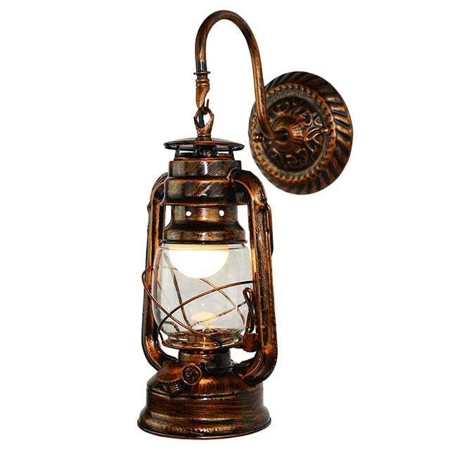 Vintage LED Wall Lamp Retro Kerosene Wall Light Barn Lantern European Rustic Antique Style