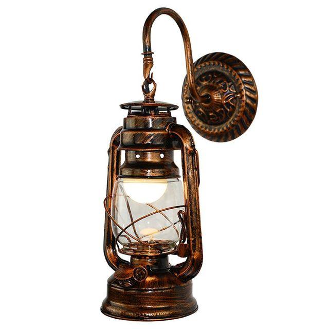 Vintage Led Wandlamp Retro Kerosine Wandlamp Schuur Lantaarn Europese Rustieke Antieke Stijl