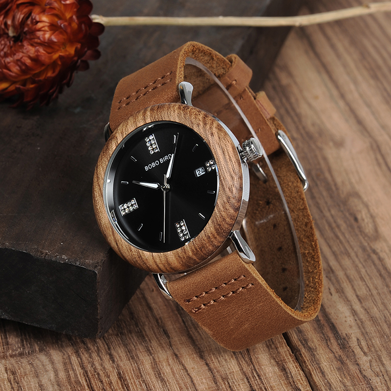 BOBO BIRD Men Watch Quartz Watches Stainless Steel Watch Imitation diamond with Leather Strap for Women in Gift Box custom logo