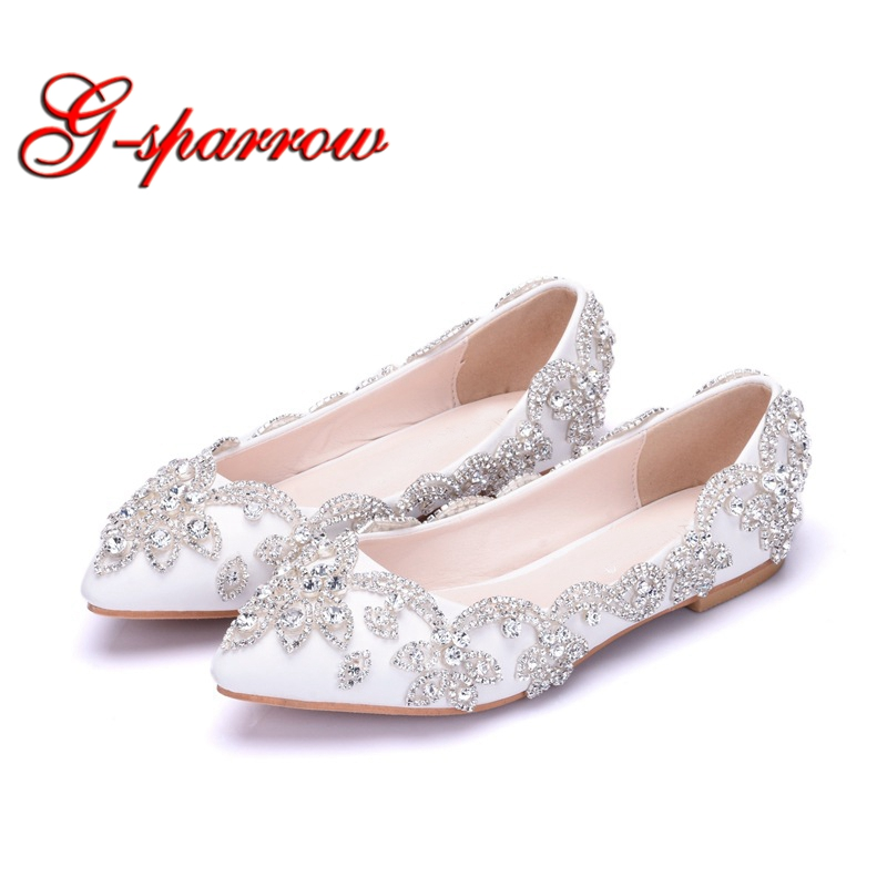 White Flat Heel Wedding Party Shoes Silver Rhinestone Formal Dress Shoes Pointed Toe Mother of the Bride Shoes Plus Size 10 girls pearl beading rhinestone sandals princess square heel pointed toe dress shoes children wedding party formal shoes aa51329