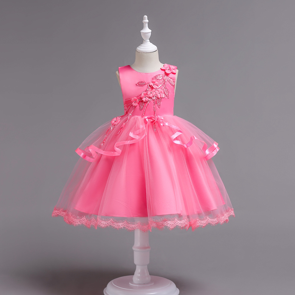 Princes Girls Wedding <font><b>Dress</b></font> for Children 5 6 7 8 9 10 11 12 <font><b>13</b></font> 14 <font><b>Years</b></font> <font><b>Old</b></font> White Red Light Hot Pink <font><b>Party</b></font> <font><b>Dresses</b></font> for Girls image