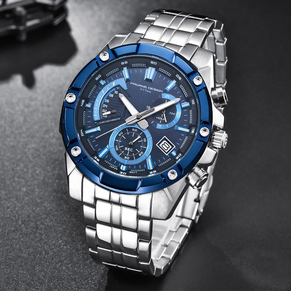 PAGANI CONCEPTION Classique Des Hommes de chronographe de sport montres à quartz acier inoxydable Étanche Japonais montres à mouvement reloj hombre