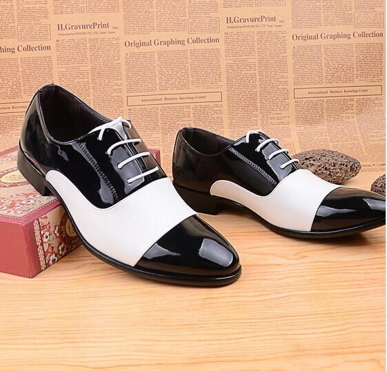 269d0e85d95 2015 del otoño del resorte zapatos moda hombre zapatos charol hombres  zapatos de vestir blanco negro