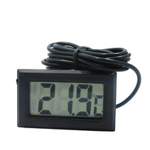 1pc Digital LCD Thermometer for Fridges Freezers Coolers Chillers Mini 1M Probe Black
