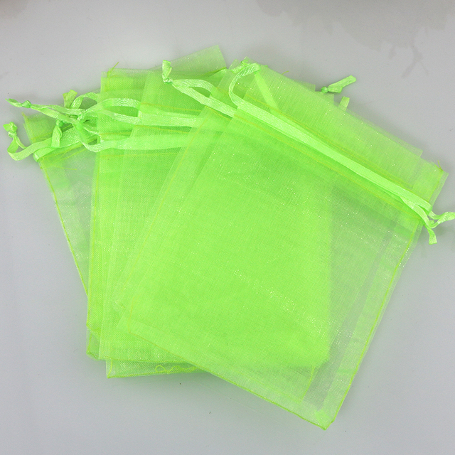 Free Shipping 500pcs Light Green Organza Bag 9x12cm Small Jewelry Gift Packaging Bags Wedding Favors Organza Gift Bag & Pouches