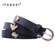 IFENDEI Skinny PU Leather Belt For Women Fashion Decorated With Insects Bee Beetle Casual Strap Gift Girlfriend Mother