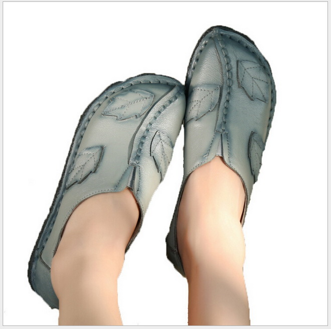 Ethnic Style 2017 New Fashion Genuine Leather Handmade Women GRAY Shoes Comfortable Casual Flat Shoes Woman