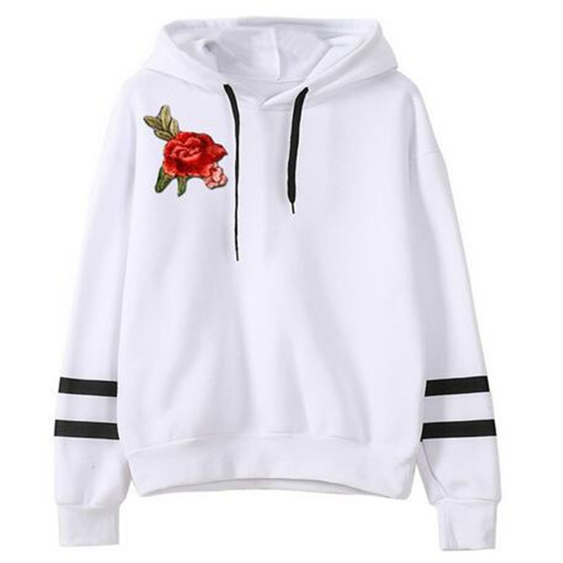 High quality autumn/winter hot style fashion European and American 5 color 4 yard womens embroidered hooded long sleeve hoodies