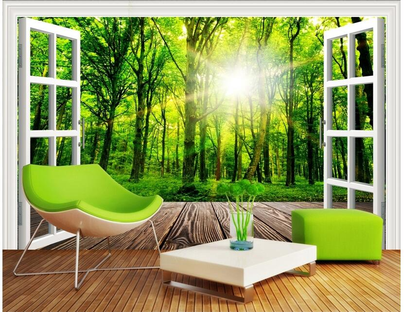 Custom photo 3d wallpaper Non-woven mural Forest landscape window decoration painting 3d wall murals wallpaper for living room custom photo wallpaper 3d wall murals balloon shell seagull wallpapers landscape murals wall paper for living room 3d wall mural