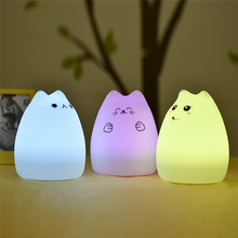 USB rechargeable LED Colorful Night Light Animal Cat stype Silicone Soft Breathing Cartoon Baby Nursery Lamp for Children Gift