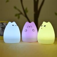 Usb recarregável led colorido luz da noite animal gato stype silicone macio respiração dos desenhos animados do bebê berçário lâmpada para o presente das crianças Luzes noturnas     -