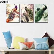 Modern Home Decor Canvas Art Print Peacock Painting Chinese Style Large Bird King Wall Art For Living Room 3 Panel Set No frame