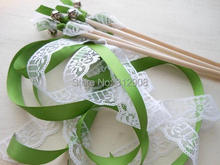 ФОТО style d new arrived 3 ribbons stick wedding wands with lace mult-colour ribbon birthday party ,christamas ribbon sparklers