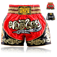 De Calidad superior troncos cortos MMA Boxeo Muay Thai kickBoxing artes marciales profesional Transpirable pantalones cortos pantalones Negro Rojo