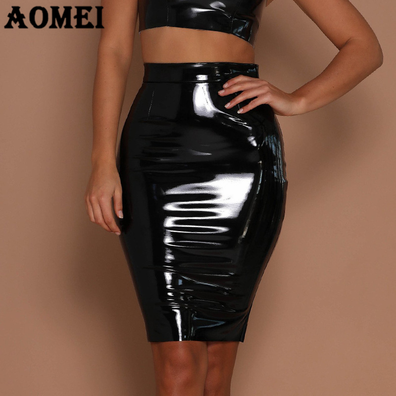 Bodycon Sexy PU Leather Skirts Autumn Winter Punk High Street Stylish Black Red With Zipper PVC Package Hip Skirts Streetwear