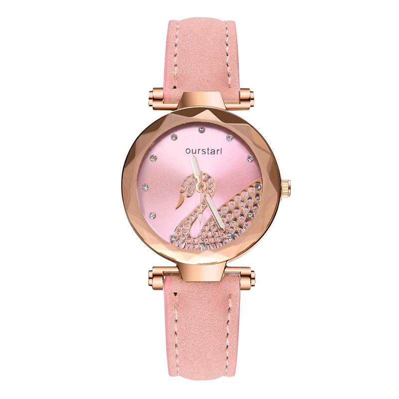 2019 New Womens Leather Strap Watch Light Luxury Girl Fashion Crystal Alloy Simulation Quartz Bracelet