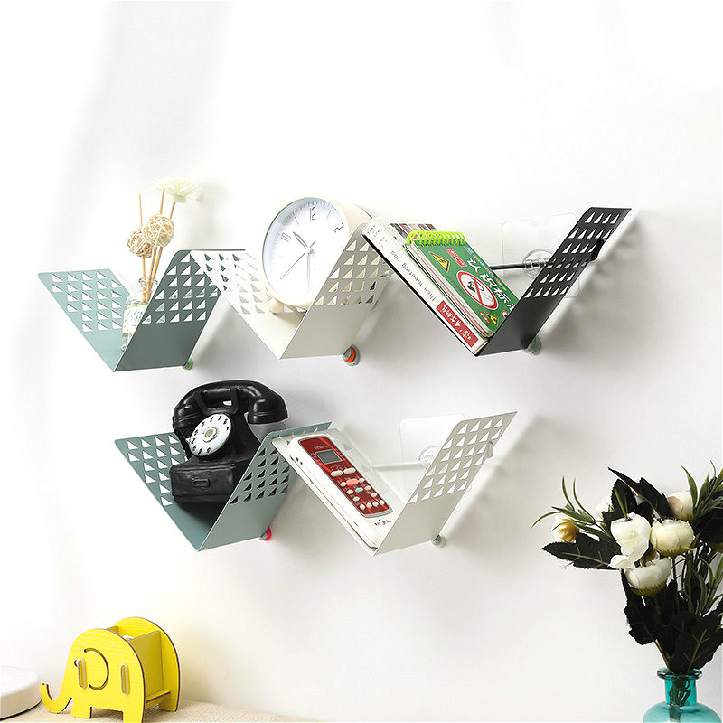 Creative Simple V-shaped Iron Wall Shelf Board DIY Bookshelf Bedroom TV Wall-mounted Storage Rack for Livingroom Decor yayang