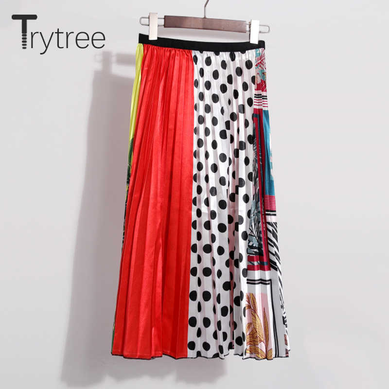 Trytree Spring Summer Pleated Skirt Womens Dot Patchwork Skirt Mid-Calf Elastic Waist Skirts A-Line High Street Skirt Female