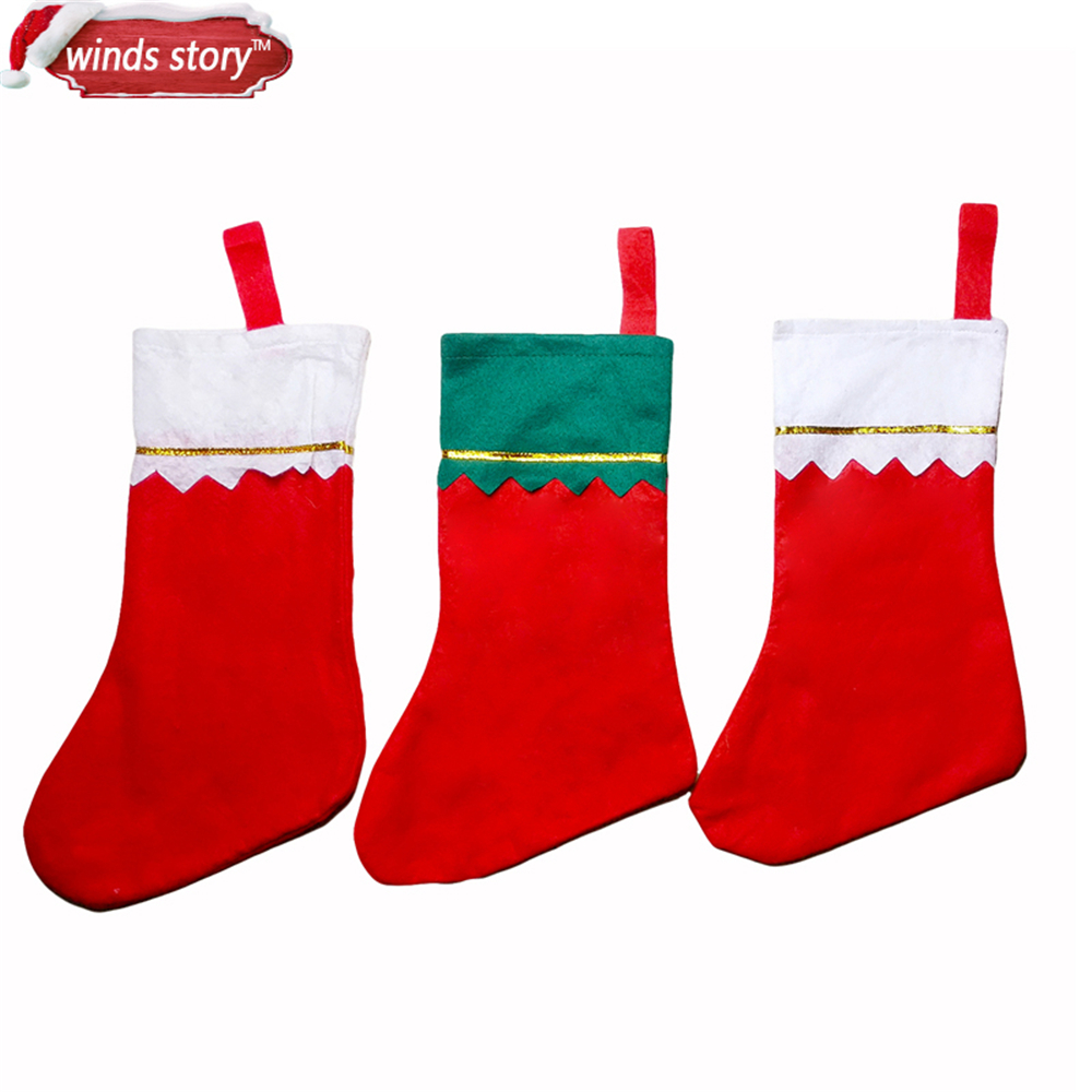 5pieces thicken christmas stocking decoration santa claus snowman deer christmas gift candy bag indoor xmas decor sock discount in stockings gift holders