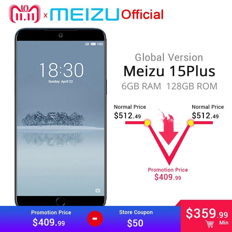 """Официальная глобальная версия Meizu 15 плюс 6 ГБ 128 ГБ сотовый телефон версии Global Exynos 8895 Octa Core 5,95 """"2560×1440 P отпечатков пальцев ID"""