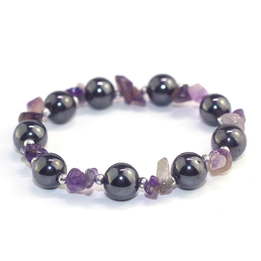 Mixcolor красивый дизайн фиолетовый черный галлстоун для мужчин и женщин браслет из натурального камня Комбинированный браслет