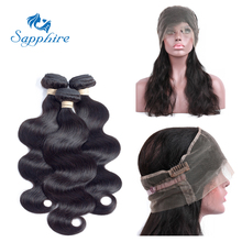 Sapphire Malaysian Body Wave Remy Human Hair 360 Lace Frontal With Bundle 1BColor For Hair Salon High Ratio Longest Hair PCT 20%(China)