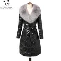 2018 Новый Для женщин зимняя куртка 100% овчины высокого класса супер теплый и Водонепроницаемый 100% имитация лисы волос Lady длинные пальто WHF126