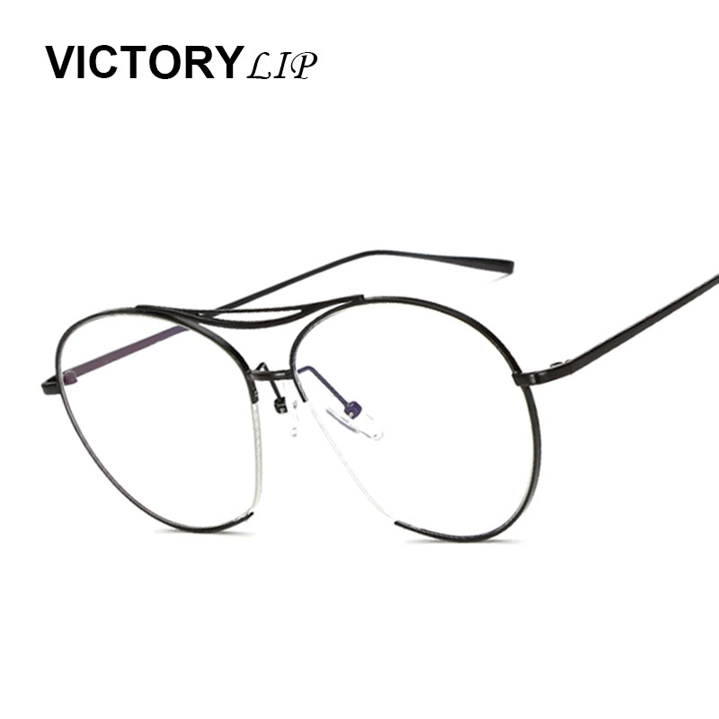 7584f58a0bd Victorylip Fashion Big Size Half Mirror Sunglasses Women Brand Designer UV400  Sun Glasses Female Metal Frame Transparent myopia