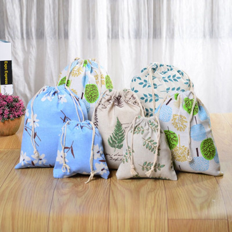 Fashion Canvas Drawstring Cosmetic Bag Travel Make Up Case Forest Organizer Storage Makeup Pouch Toiletry Beauty Wash Kit Box