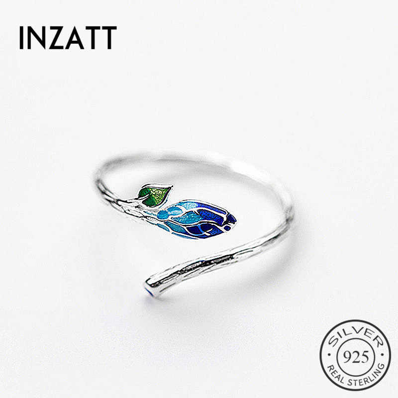 INZATT Vintage Charm 925 Sterling Silver Color Gradient Enamel Bud Plant Adjustable Ring Fine Jewelry For Women Personality Gift