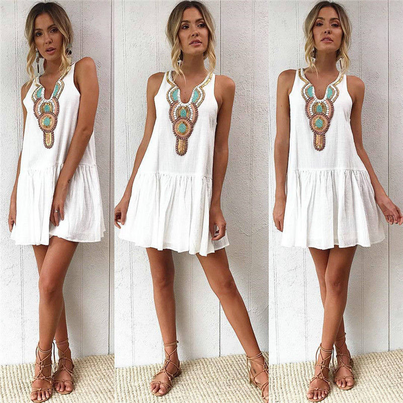 Women Boho Short Mini Dress Summer Evening Party Beach Holiday Sweet Sundress A-line White Color Dresses Vestido