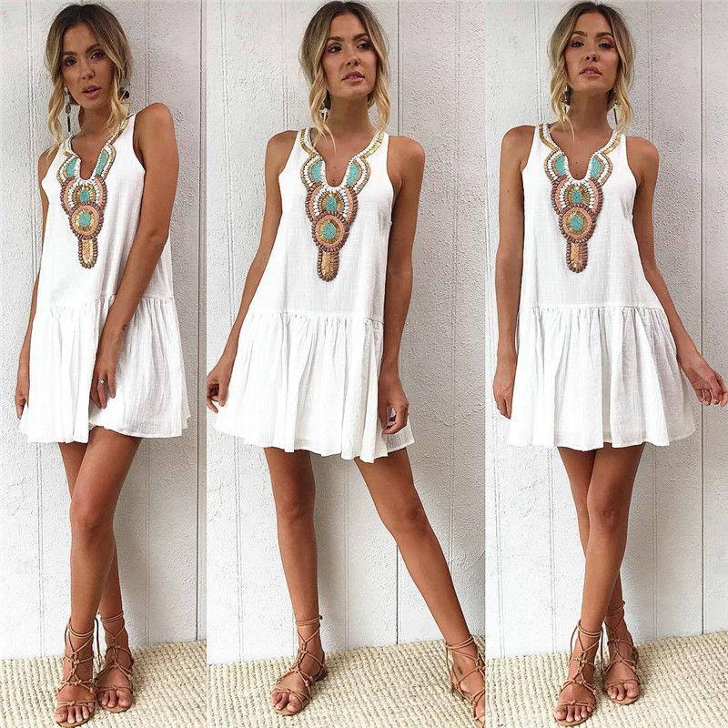 Women Boho Short Mini Dress Summer Evening Party Beach Holiday Sweet Sundress A-line White Color Dresses Vestido