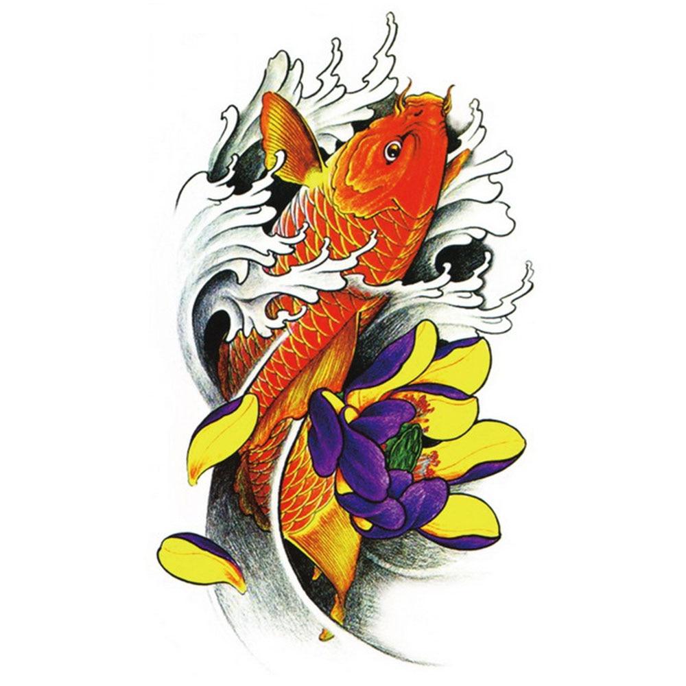 Yeeech Temporary Tattoos Sticker for Men Fake Large Golden Carp Fish Lotus Designs Sexy Real Looking Waterproof Arm Leg Body Art