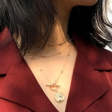 OLOEY Womens Necklaces New Fashion Embossed Multi-Layer Chokers Beaded Metal Necklace Female Sweater Chains Jewelry Gifts