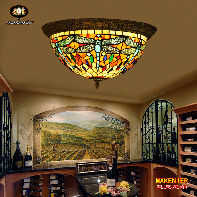 Makenier Vintage Baroque Tiffany Style Red Stained Gl Blue Dragonfly Flush Mount Ceiling Lamp Fixture