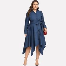Autumn Turn-down Long Sleeve Woman Dress Casual Irregular Lace Up Vintage Fashion OL Office Wear Vestidos Clothing