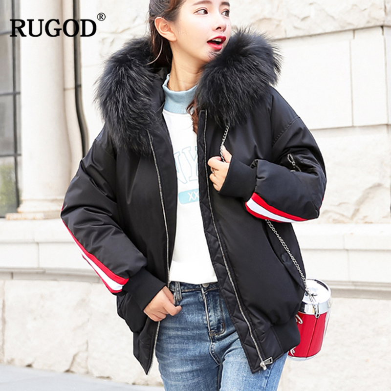 Pour Solide Les Rugod 2018 À pourpre Femmes Lady Manteau blanc Féminine Hiver Rayé Mode Office Épais taille Zipper Coton Outwear Capuchon Large Noir 4T4OqUnw
