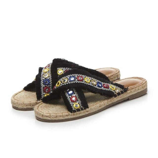 313d79bf1d0 Online Shop Summer slippers women Mules fringe string beaded ...