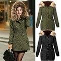Capa de la chaqueta de invierno parkas de la mujer verde del ejército Gran cuello con capucha de piel de mapache outwear ropa suelta de Ucrania norte facce chaqueta