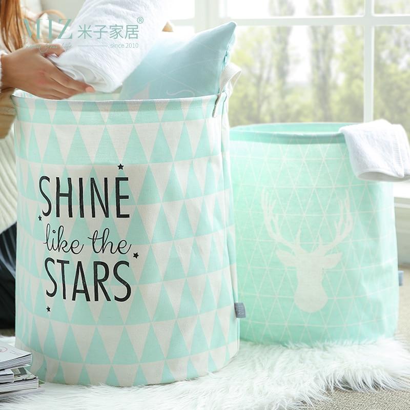 Sacchetto di immagazzinaggio del sacchetto della lavanderia della menta verde Vestiti del bagno Cesto di immagazzinaggio del tessuto 2 dimensioni