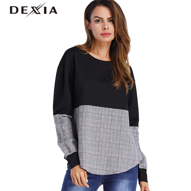 42af6c961 DEXIA 2018 Hoodies Women Patchwork Black and Grey Cotton Long Sleeve O-Neck  Female Basic Clothing Fashion Casual Tops SKSH3265