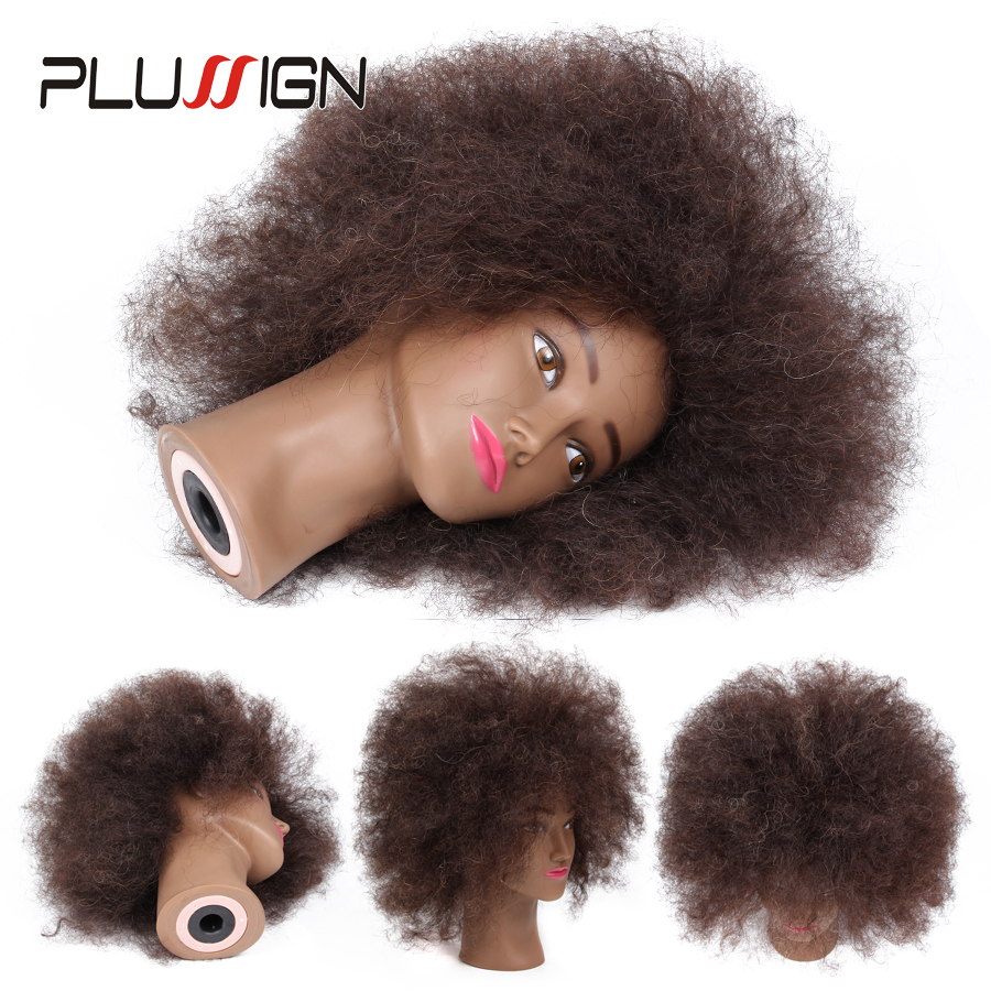 Plussign Wig Head Hairdressing Mannequin Training Head Afro Mannequin Heads for Salon Hair Practice Styling African Dummy Head 50cm long gold hair training head salon professional hairdressing doll mannequin dummy for hairstyles practice manikin head