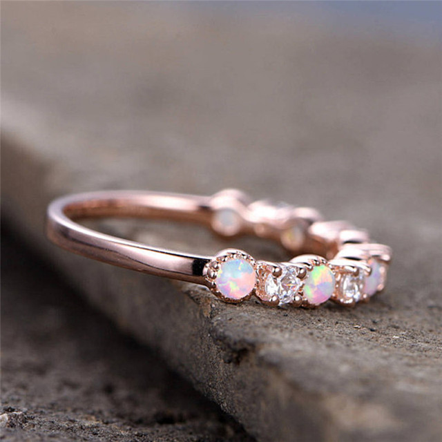 ROMAD CZ Opal Rings Women Wedding Fire Stone Finger Ring Eternity Band for Bridal Engagement Jewelry Valentine's Day Gift R4