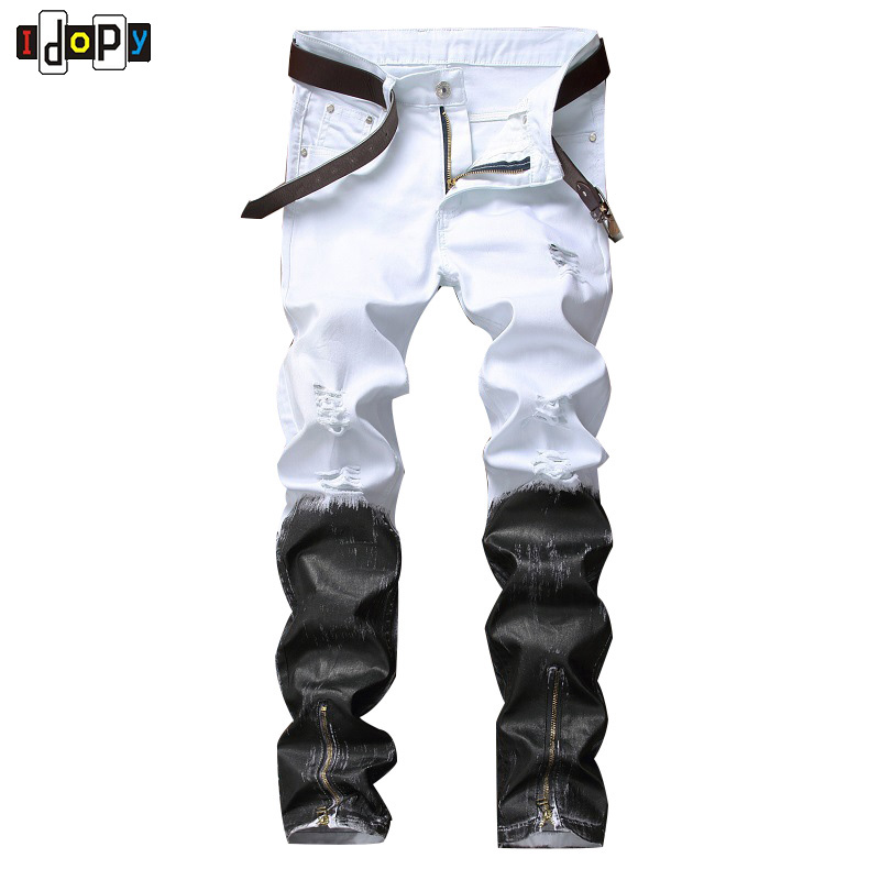 Idopy Black Biker Jeans Slim Fit Joggers Pants For Men